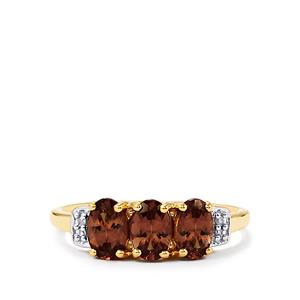 Bekily Color Change Garnet Ring with Diamond in 10k Gold 1.60cts