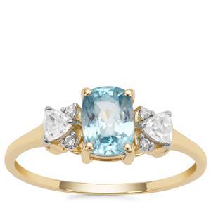 Ratanakiri Blue Zircon Ring with White Zircon in 9K Gold 1.66cts