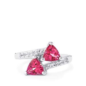 1.90ct Mystic Pink & White Topaz Sterling Silver Ring