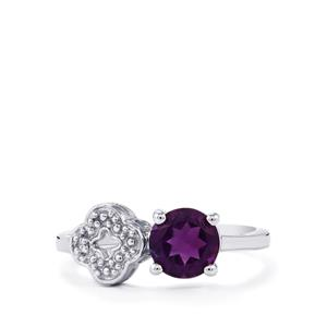 Amethyst Ring with Zircon in Sterling Silver 0.97ct
