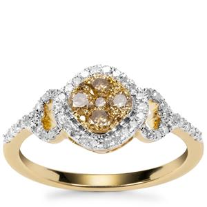 Champagne Diamond Ring with White Diamond in 9K Gold 0.55ct