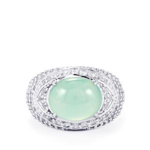 Aquaprase™ & White Topaz Sterling Silver Ring ATGW 4.42cts