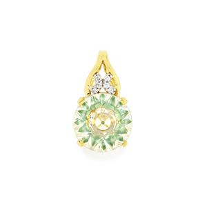 Lehrer KaleidosCut White Quartz, Fern Green Topaz & Diamond 10K Gold Pendant ATGW 3cts