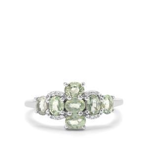 Green Sapphire & Diamond 9K White Gold Ring ATGW 1.79cts