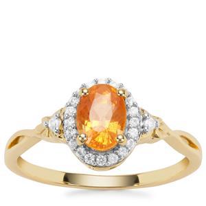 Mandarin Garnet Ring with White Zircon in 9K Gold 1.73cts