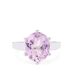4.36ct Rose De France Amethyst Sterling Silver Ring