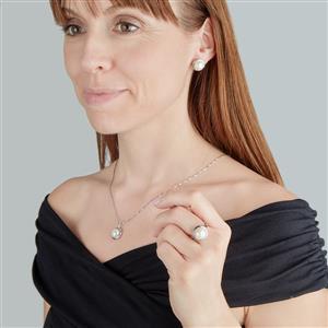 Kaori Cultured freshwater Pearl Sterling Silver Set of Ring, Earrings & Pendant