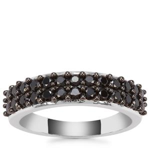 Black Spinel Ring in Sterling Silver 1.10cts