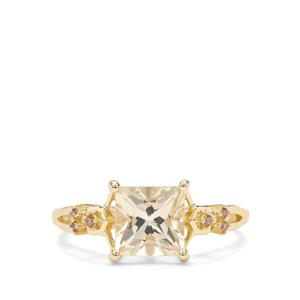 Serenite & Champagne Diamond 9K Gold Ring ATGW 1.62cts