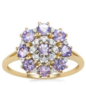 AA Tanzanite Ring with Natural Zircon in 9k Gold 1.16cts