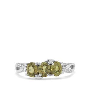 Namibian Demantoid Garnet & White Zircon 9K White Gold Ring ATGW 1.45cts