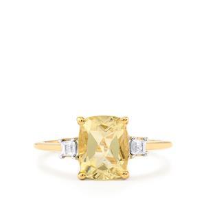 Serenite & White Zircon 10K Gold Ring ATGW 2.23cts