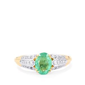 Ethiopian Emerald & Diamond 18K Gold Tomas Rae Ring MTGW 1.26cts