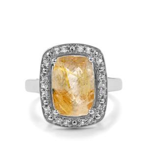 Bahia Rutilite & White Topaz Sterling Silver Ring ATGW 5cts