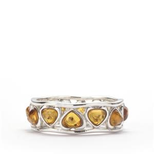 Baltic Cognac Amber Ring in Sterling Silver (4 x 3.50mm)