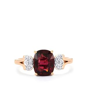 Comeria Garnet Ring with Diamond in 14k Rose Gold 2.62cts