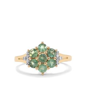 Alexandrite Ring with Diamond in 10K Gold 1.14cts