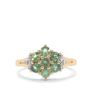 Alexandrite & Diamond 9K Gold Ring ATGW 1.14cts