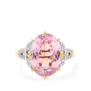 Mawi Kunzite Ring with Diamond in 18k Gold 8cts