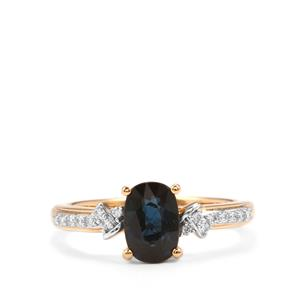 Natural Nigerian Sapphire Ring with Diamond in 18K Gold 1.66cts