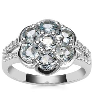 Sokoto Aquamarine Ring with White Zircon in Sterling Silver 1.87cts