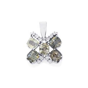 Burmese Spinel & White Zircon Sterling Silver Pendant ATGW 4.77cts
