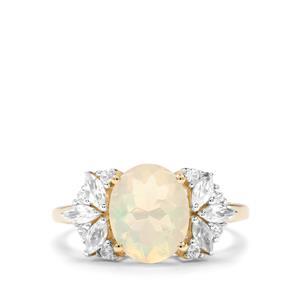 Ethiopian Opal, Ceylon Sapphire & White Zircon 9K Gold Ring ATGW 2.02cts