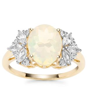 Ethiopian Opal, Ceylon Sapphire Ring with White Zircon in 9K Gold 2.02cts
