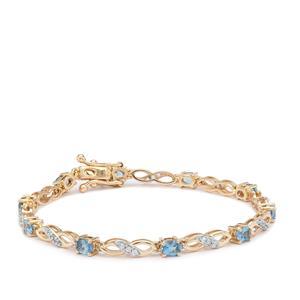 Nigerian Aquamarine Bracelet with White Zircon in 9K Gold 2.35cts