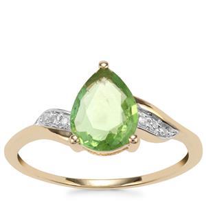 Paraiba Tourmaline Ring with Diamond in 10k Gold 0.97ct