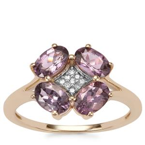 Mahenge Purple Spinel Ring with Diamond in 10K Gold 1.88cts