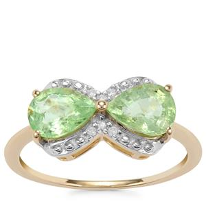 Paraiba Tourmaline Ring with Diamond in 9K Gold 1.80cts