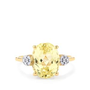 Canary Kunzite Ring with White Zircon in 10k Gold 4.84cts