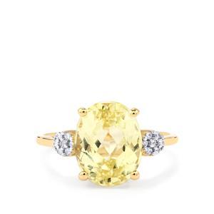 Canary Kunzite & White Zircon 9K Gold Ring ATGW 4.84cts