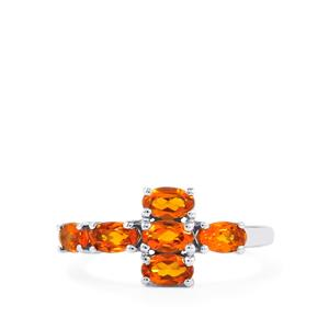 Madeira Citrine Ring in Platinum Plated Sterling Silver 1.27cts