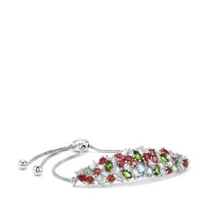 Kaleidoscope Gemstones Slider Bracelet in Sterling Silver 8.36cts