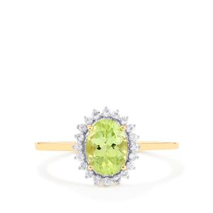 Pakistani Peridot Ring with White Sapphire in 10K Gold 1.54cts