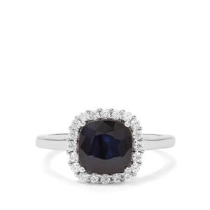 Siam Sapphire & White Zircon Sterling Silver Ring ATGW 2.80cts