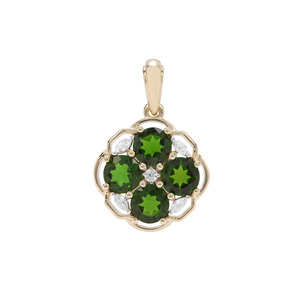 Chrome Diopside Pendant with White Zircon in 9K Gold 2.92cts