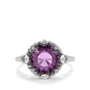 Lotus Cut Ametista Amethyst & White Topaz Sterling Silver Ring ATGW 3.68cts