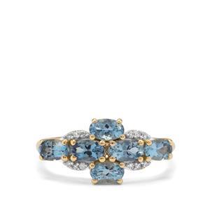 Nigerian Aquamarine Ring with Diamond in 9K Gold 1.35cts