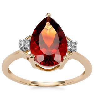 Madeira Citrine Ring with Diamond in 9K Gold 2.39cts