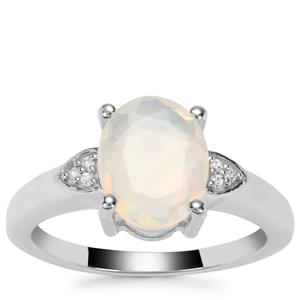 Ethiopian Opal Ring with White Zircon in Sterling Silver 1.30cts