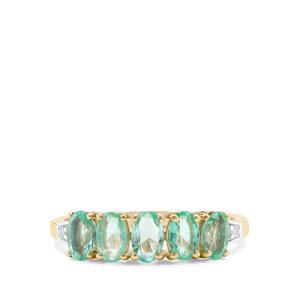 Colombian Emerald & White Diamond 9K Gold Ring ATGW 1.02cts