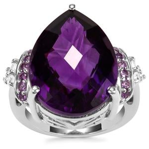Zambian Amethyst Ring with White Zircon in Sterling Silver 17.51cts