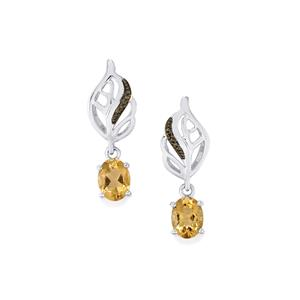 Natural Bolivian Champagne Quartz Earrings with Champagne Diamond in Sterling Silver 3.15cts