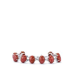 Australian Rhodonite Bracelet in Sterling Silver 86cts