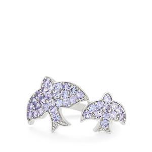 1.73ct AA Tanzanite Sterling Silver Swift Bird Ring