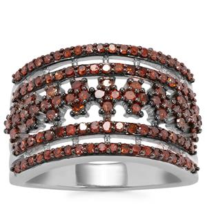 Cognac Diamond Ring in Sterling Silver 1.05ct