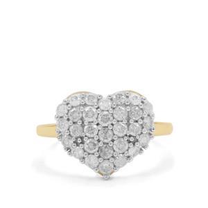 1ct GH Diamond 9K Gold Heart Ring